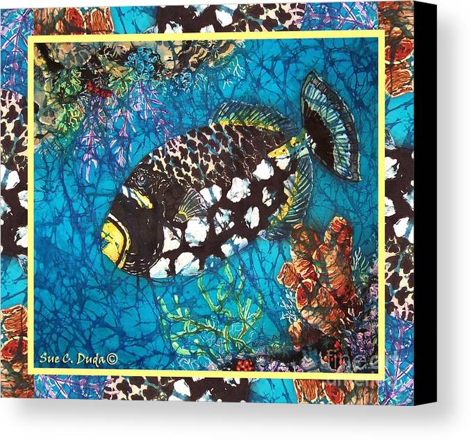 Batik Canvas Print featuring the painting Clown Triggerfish-bordered by Sue Duda