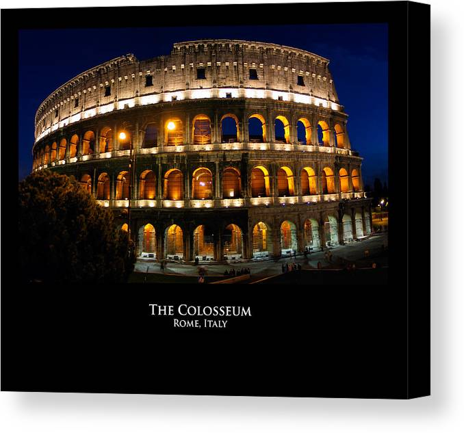 Italy Canvas Print featuring the photograph Colosseum At Night by Alan Zeleznikar