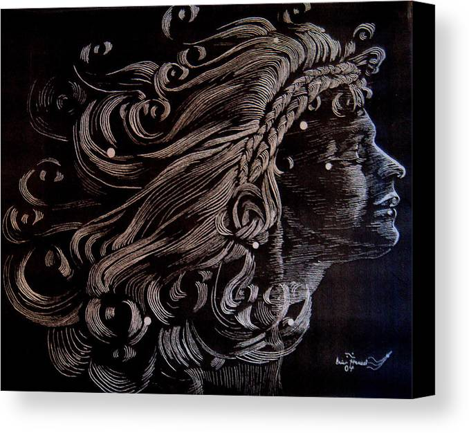 Coma Berenices Canvas Print featuring the drawing Coma Berenices by Eric Hausel