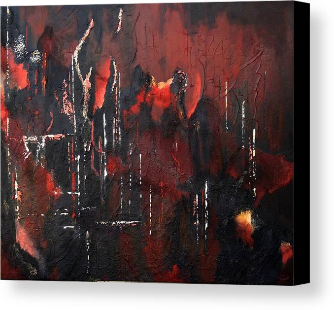 Original Acrylic Abstract Canvas Print featuring the painting Connected by Sharon Steinhaus