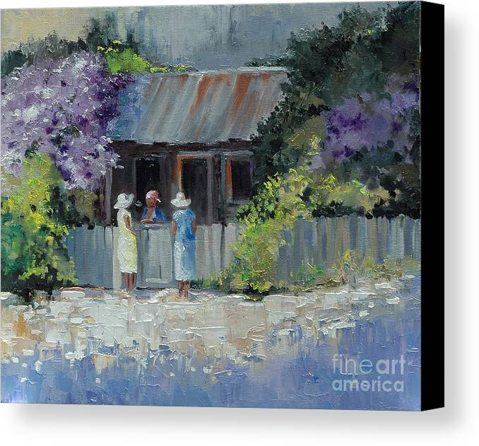 Floral Canvas Print featuring the painting Crape Myrtle And Ladies Of Darien by Glenn Secrest