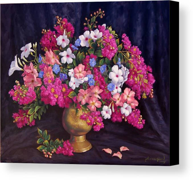 Roses Canvas Print featuring the painting Crepe Myrtle And Roses by Johanna Girard
