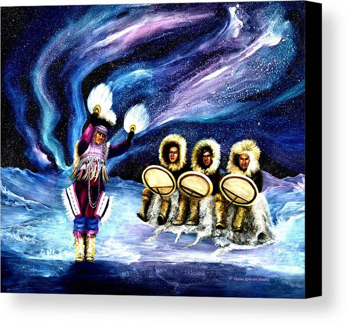 Alaska Canvas Print featuring the painting Dancing With The Spirits by Dianne Roberson