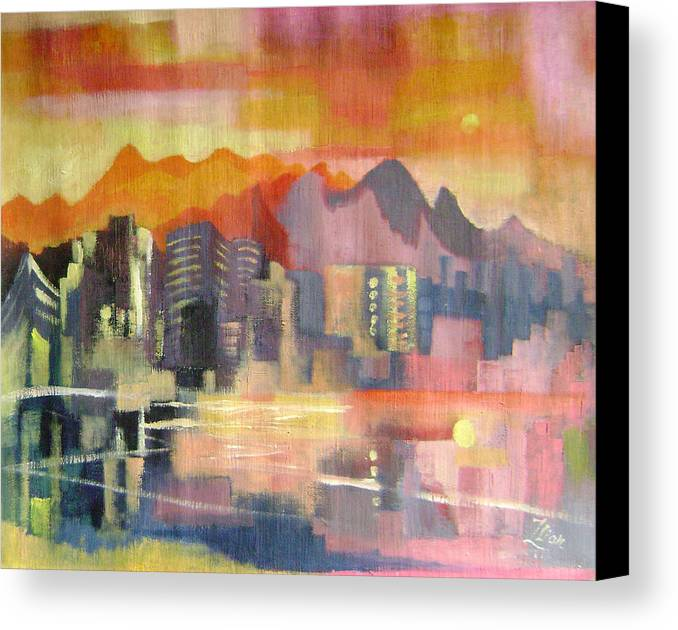 Abstract Canvas Print featuring the painting Dream City No.3 by Lian Zhen