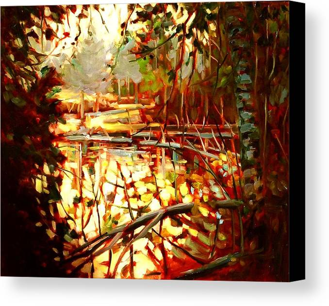 Landscape Paintings Canvas Print featuring the painting Durance Lake by Brian Simons