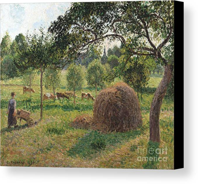 Sunset Framed Prints Canvas Print featuring the painting Dusk At Eragny by Camille Pissarro