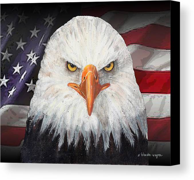 Eagle Canvas Print featuring the mixed media Eagle And The Flag by Arline Wagner