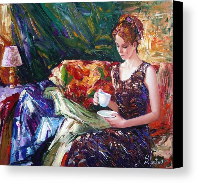 Figurative Canvas Print featuring the painting Evening Coffee by Sergey Ignatenko