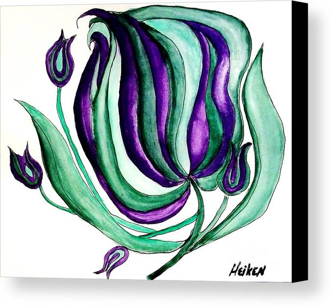 Painting Canvas Print featuring the painting Fantasy Pod Flower by Marsha Heiken