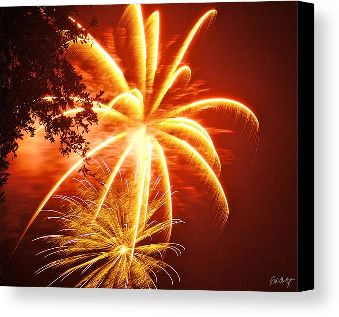 July 4th Canvas Print featuring the photograph Fire In The Trees by Phill Doherty