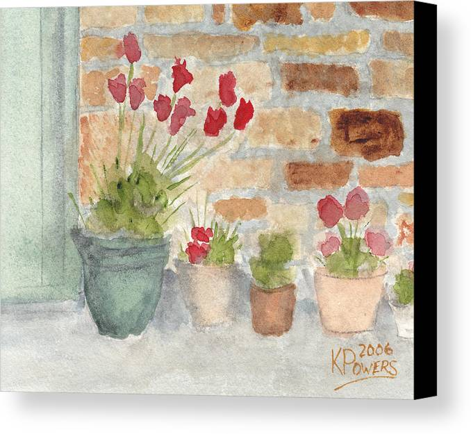 Flower Canvas Print featuring the painting Flower Pots by Ken Powers