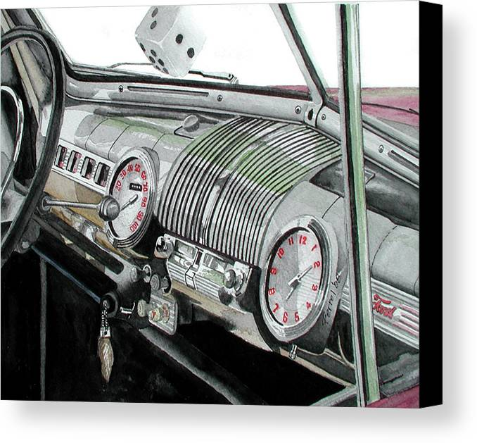 Car Canvas Print featuring the painting Ford Dash by Ferrel Cordle
