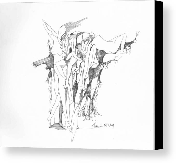 Surreal Canvas Print featuring the drawing Forms by Padamvir Singh