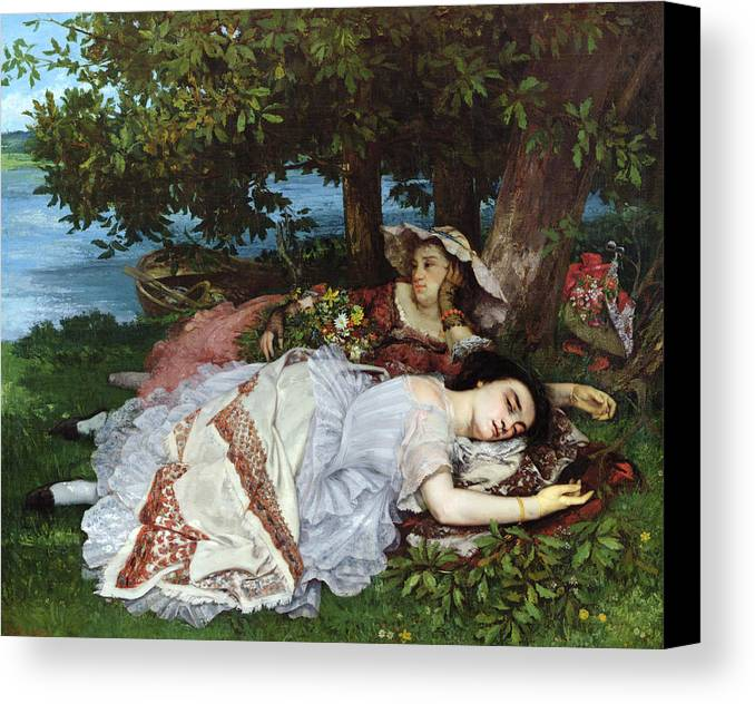 Girls Canvas Print featuring the painting Girls On The Banks Of The Seine by Gustave Courbet
