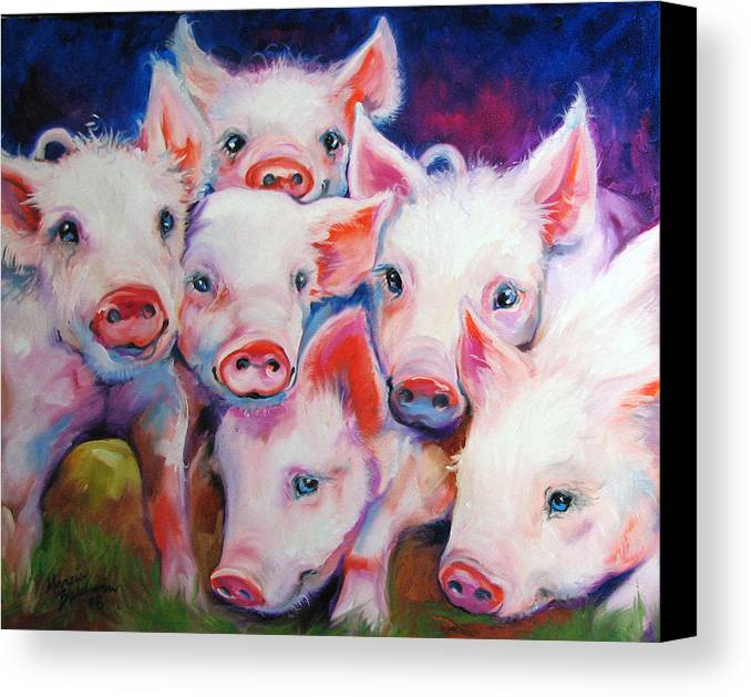 Pig Canvas Print featuring the painting Half Dozen Piglets by Marcia Baldwin