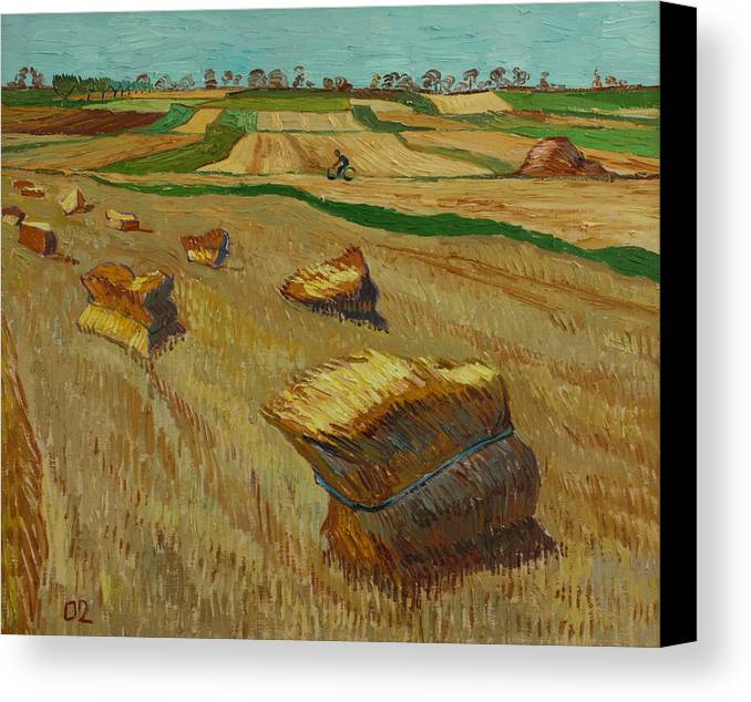 Landscape Canvas Print featuring the painting Haystacks In Moravia by Vitali Komarov