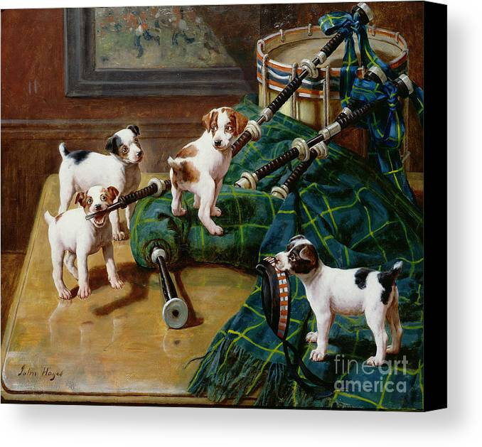 He Who Pays The Piper Calls The Tune By John Hayes (fl.1897-1902) Canvas Print featuring the painting He Who Pays The Piper Calls The Tune by John Hayes