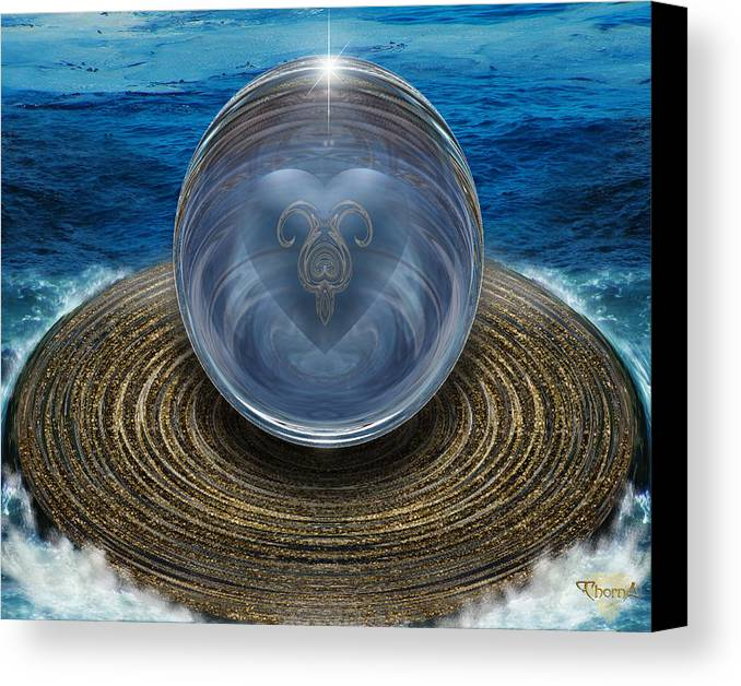 Digital Art Canvas Print featuring the digital art Heart Of The Sea by Greg Piszko