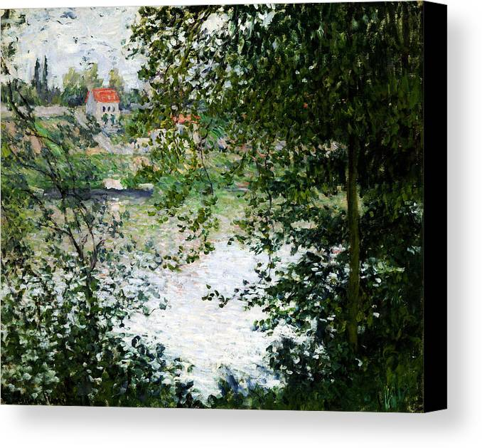 Claude Monet Canvas Print featuring the painting Ile De La Grande Jatte Through The Trees by Claude Monet