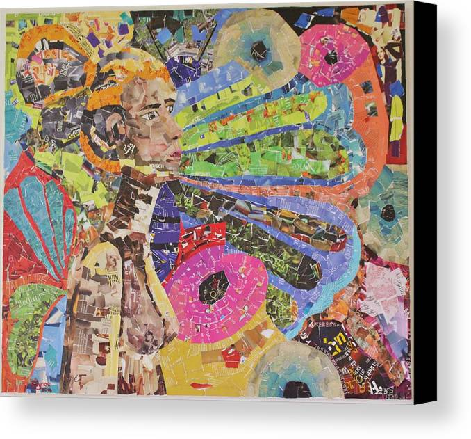 Portrait Canvas Print featuring the mixed media Inner Reflection by Shonette Bynoe