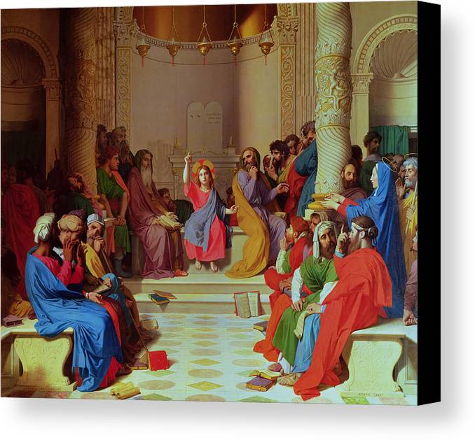 Jesus Canvas Print featuring the painting Jesus Among The Doctors by Ingres