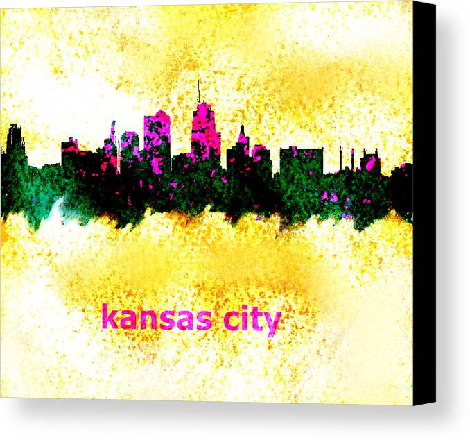 Kansas City Canvas Print featuring the painting Kansas City Skyline 1 by Enki Art
