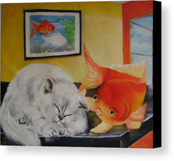 Fantasy Canvas Print featuring the painting Kitty's Dream by Lian Zhen