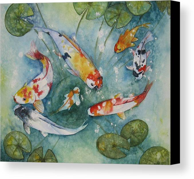 Koi Canvas Print featuring the painting Koi With Lilies by Gina Hall