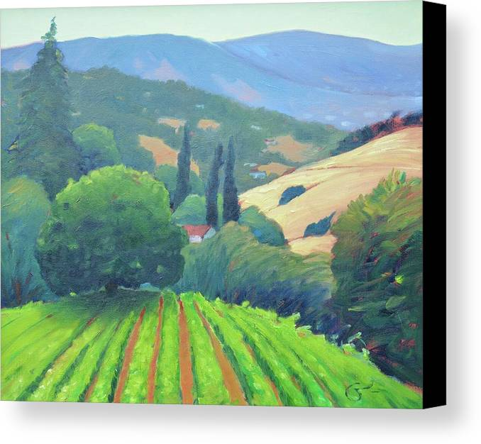 Vinyard Canvas Print featuring the painting La Rusticana Afternoon. by Gary Coleman