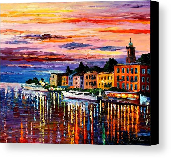 Cityscape Canvas Print featuring the painting Lake Como - Bellagio by Leonid Afremov