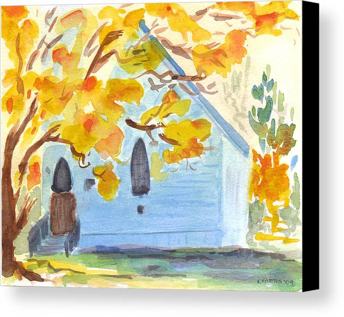 Church Canvas Print featuring the painting Little Old Church In Friday Harbor by Kerry Hartjen