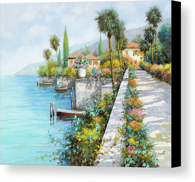 Lake Canvas Print featuring the painting Lungolago by Guido Borelli