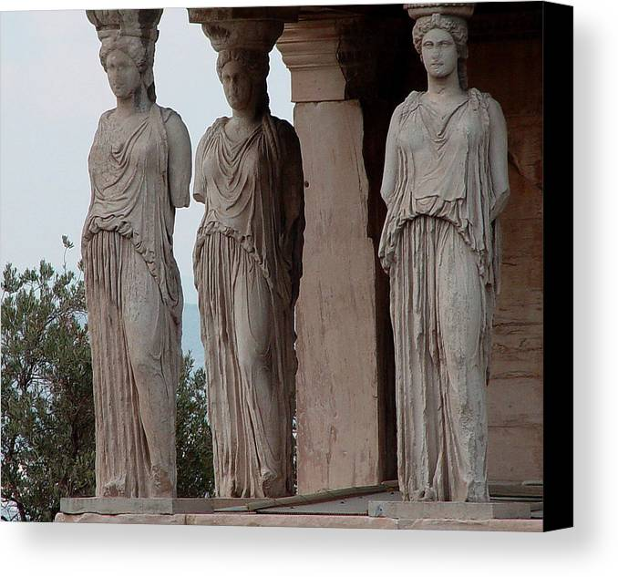 Athens Greece Canvas Print featuring the photograph Maidens Of The Porch by Nancy Bradley
