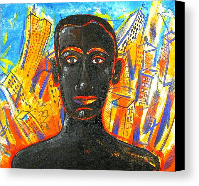 Man Canvas Print featuring the painting Man And The City by Rollin Kocsis