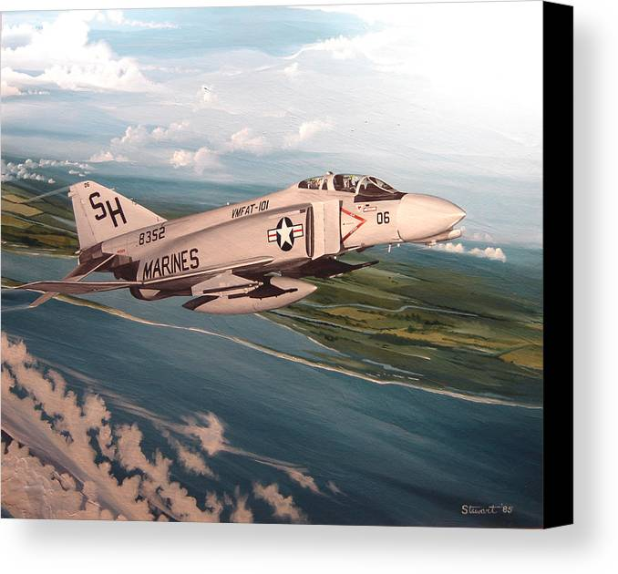 Aviation Canvas Print featuring the painting Marine Phantom by Marc Stewart
