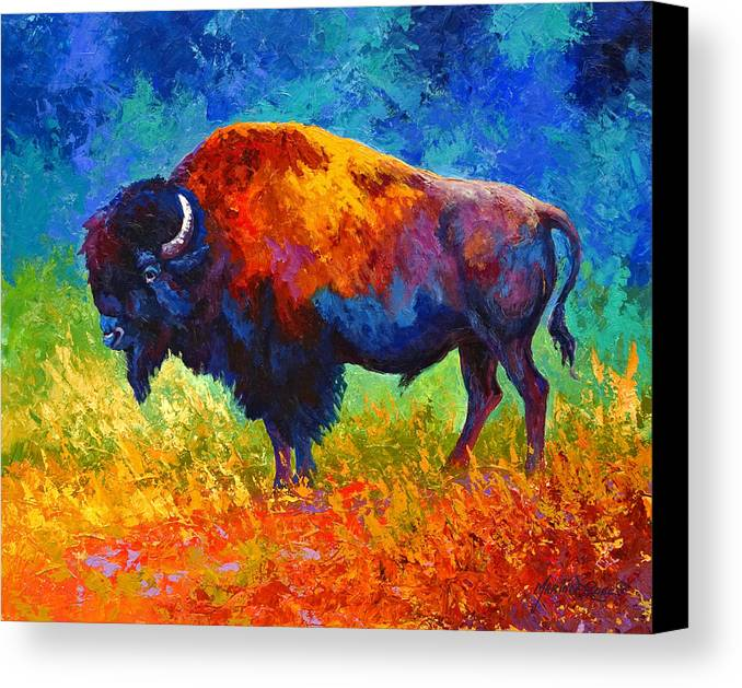 Wildlife Canvas Print featuring the painting Master Of His Herd by Marion Rose