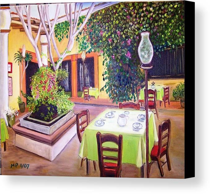Landscape-foliage-restaurant-flowers Canvas Print featuring the painting Mexican Garden Restaurant by Madeleine Prochazka