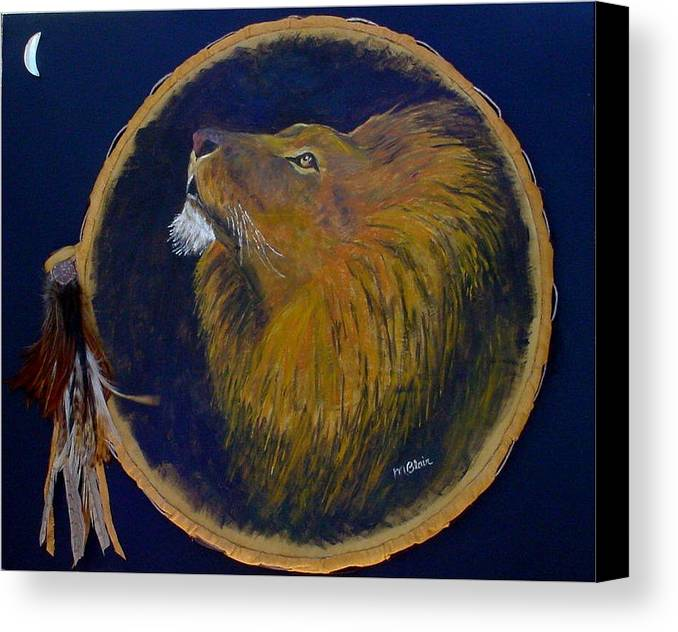 Lion. Wildlife Canvas Print featuring the painting Moon Raker by Merle Blair