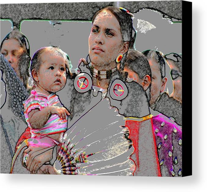 Native Americans Canvas Print featuring the photograph Mother And Child by Laurie Prentice
