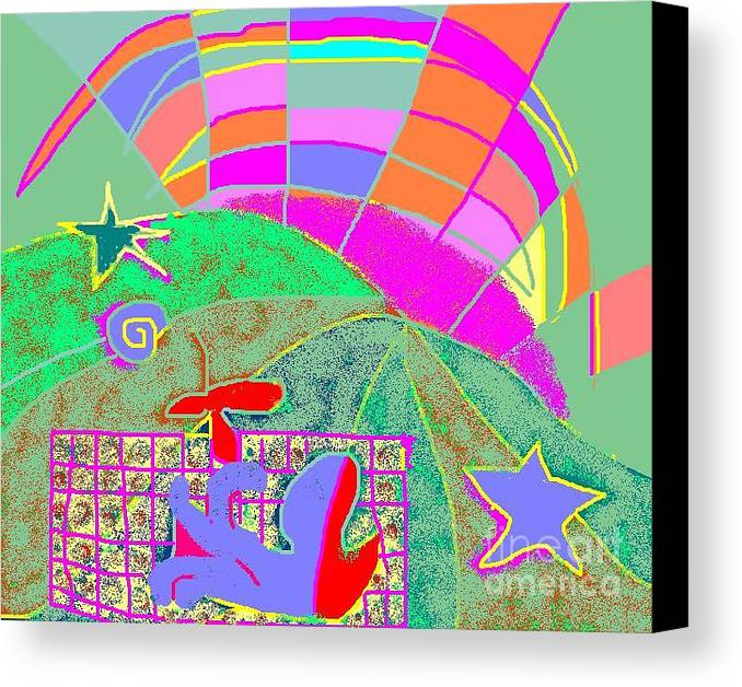 Greeting Card Canvas Print featuring the digital art Octopus' Garden by Beebe Barksdale-Bruner