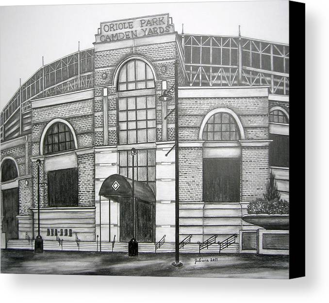 Camden Yards Canvas Print featuring the drawing Oriole Park Camden Yards by Juliana Dube