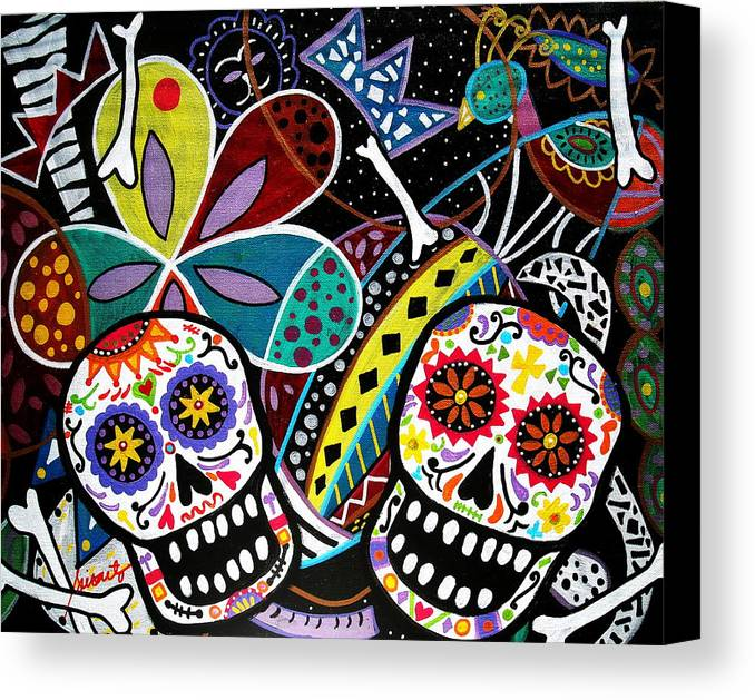 Day Of The Dead Canvas Print featuring the painting Pareja Dia De Los Muertos by Pristine Cartera Turkus