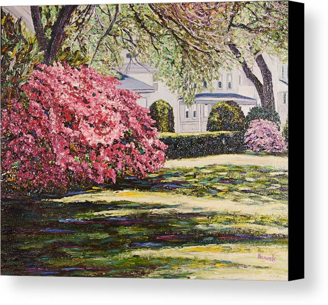 Park Canvas Print featuring the painting Park Spring Blossom With Shadows by Richard Nowak