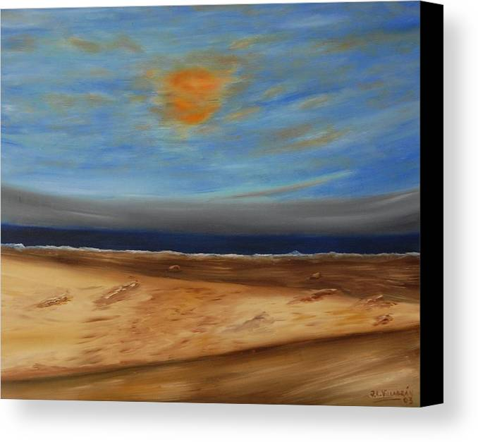 Sun Canvas Print featuring the painting Paseo Por La Arena by Jose Luis Villagran Ortiz