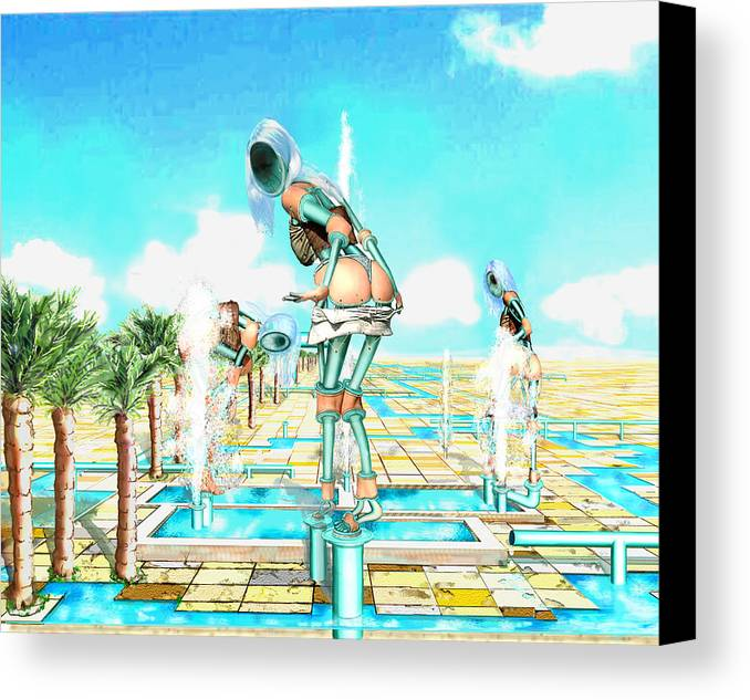 Pipe Figures Creating On Oasis Canvas Print featuring the digital art Pipe Human Figures Creating On Oasis Number One by Leo Malboeuf
