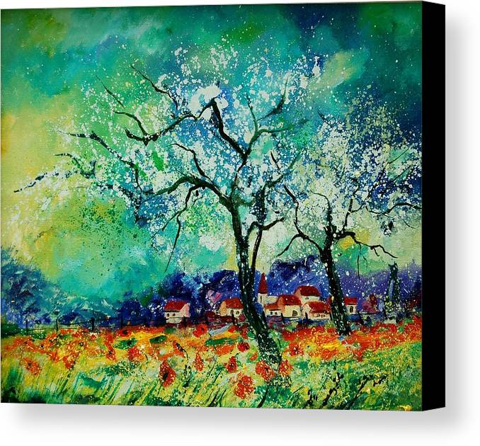 Landscape Canvas Print featuring the painting Poppies And Appletrees In Blossom by Pol Ledent