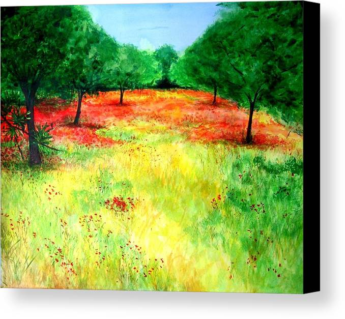 Landscape Canvas Print featuring the painting Poppies In The Almond Grove by Lizzy Forrester