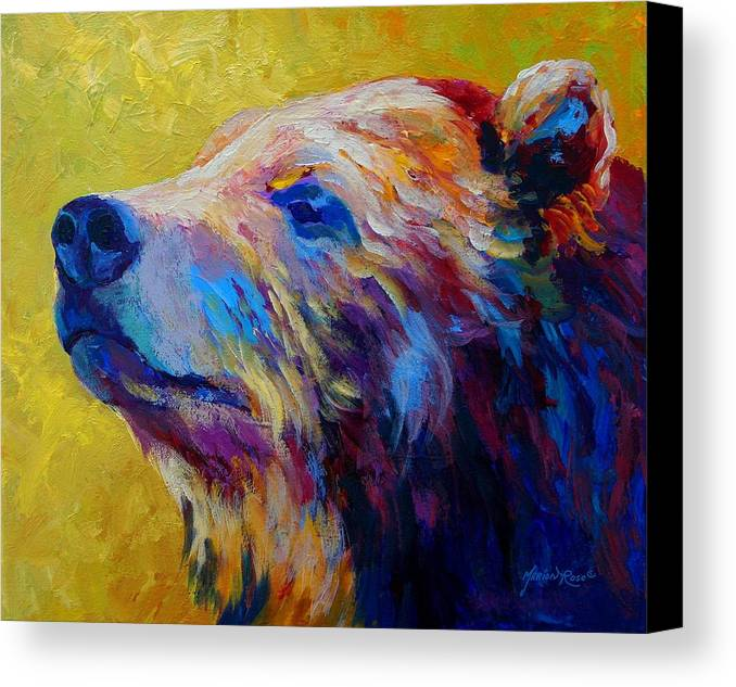 Bear Canvas Print featuring the painting Pretty Boy - Grizzly Bear by Marion Rose