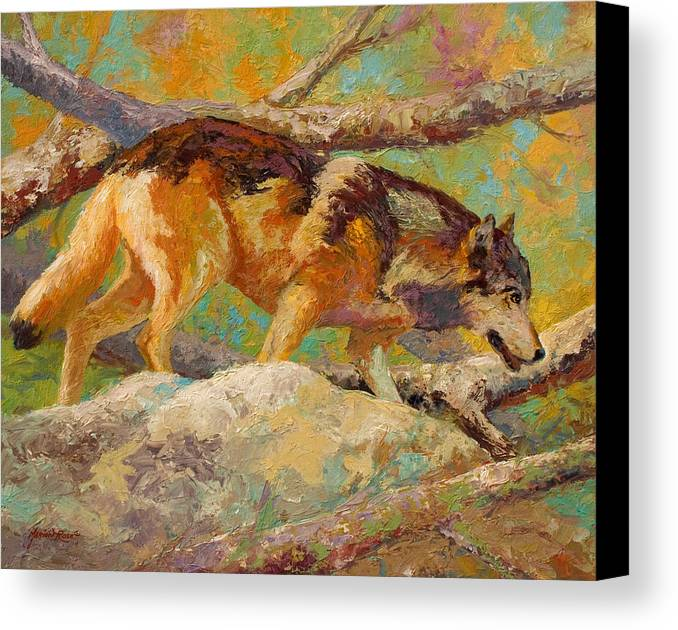 Wolf Canvas Print featuring the painting Prowler - Grey Wolf by Marion Rose