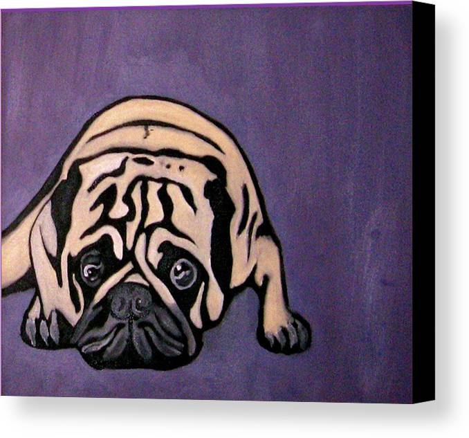 Pug Canvas Print featuring the painting Purple Pug by Darren Stein